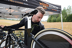 Wiggle High5 bikes receive their final checks at Ladies Tour of Norway 2018 Team Time Trial, a 24 km team time trial from Aremark to Halden, Norway on August 16, 2018. Photo by Sean Robinson/velofocus.com