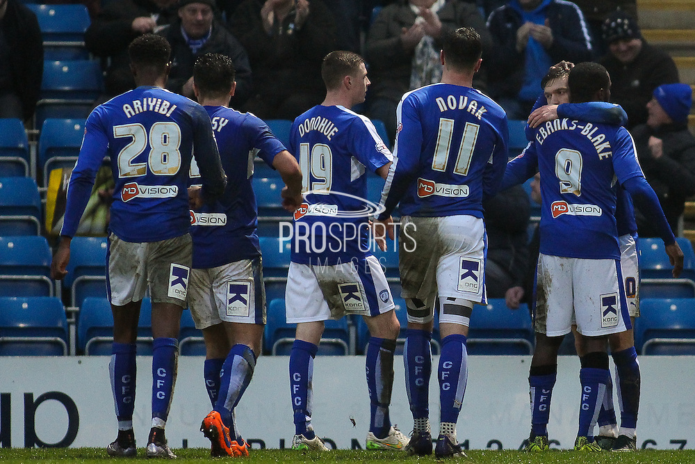 Celebrations as Chesterfield FC midfielder Jay O'Shea scores a penalty during the Sky Bet League 1 match between Chesterfield and Shrewsbury Town at the Proact stadium, Chesterfield, England on 2 January 2016. Photo by Aaron Lupton.