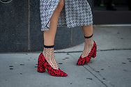 Red Leopard Shoes and Polka Dot Socks, Outside Desigual SS2018