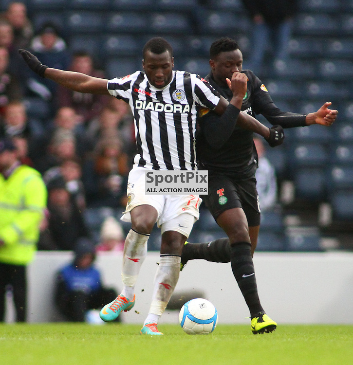 Esmael Gonvalves st mirren tangles with Victor Wanyama celtic   st mirren against celtic in the ..The Scottish Communities League Cup Semi Final St Mirren v Celtic at Hampden Stadium picture kevin mcglynn