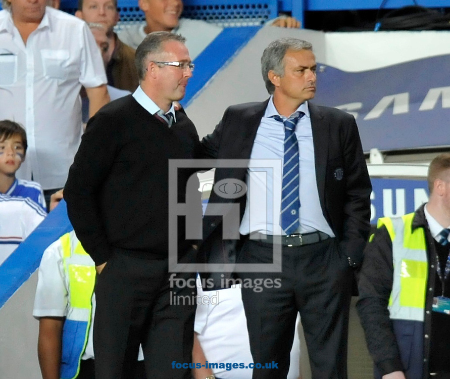 Picture by Alan Stanford/Focus Images Ltd +44 7915 056117<br /> 21/08/2013<br /> Manager Jose Mourinho of Chelsea and Manager Paul Lambert of Aston Villa during the Barclays Premier League match at Stamford Bridge, London.