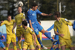 M. Mevlja of Gorica, Damir Pekic and Jani Sturm of Domzale at football match of 30th Round of 1st Slovenian League between NK Hit Gorica and Domzale, on April 10, 2010, in Sportni park, Nova Gorica, Slovenia. (Photo by Foto Forma/ Sportida)
