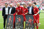(L-R) Bayern Munich's sports director Hasan Salihamidzic, Bayern Munich's President Uli Hoeness, Bayern Munich's Dutch midfielder Arjen Robben, Bayern Munich's Brazilian defender Rafinha, Bayern Munich's CEO Karl-Heinz Rummenigge and Bayern Munich's French midfielder Franck Ribery pose during a farewell ceremony prior the German first division Bundesliga football match FC Bayern Munich v Eintracht Frankfurt, <br /> (L-R) Hasan Salihamidzic,  Uli Hoeness, Arjen ROBBEN, RAFINHA, Karl-Heinz Rummenigge, Franck RIBERY, <br /> MUNICH, 18. MAY 2019,  Fc BAYERN vs Eintracht FRANKFURT, 5:1 - Bundesliga Football Match, <br /> FcBayern Muenchen vs Eintracht FRANKFURT Bundesliga match at Allianz Arena on 18.05.2019, DFL REGULATIONS PROHIBIT ANY USE OF PHOTOGRAPHS AS IMAGE SEQUENCES AND/OR QUASI-VIDEO - fee liable image, <br /> copyright &copy; ATP / Arthur THILL