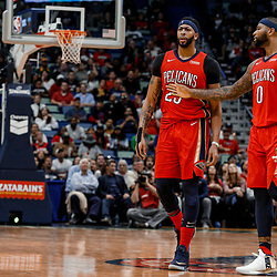 Nov 29, 2017; New Orleans, LA, USA; New Orleans Pelicans center DeMarcus Cousins (0) attempts to hold back forward Anthony Davis (23) after a technical foul during the second quarter of a game against the Minnesota Timberwolves at the Smoothie King Center. Mandatory Credit: Derick E. Hingle-USA TODAY Sports