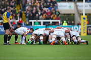 Leicester Tigers Scrum-half Ben Youngs (9) puts the ball into the scrum during the Aviva Premiership match between Newcastle Falcons and Leicester Tigers at Kingston Park, Newcastle, United Kingdom on 29 October 2017. Photo by Simon Davies.
