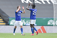 LEICESTER, ENGLAND - JULY 04: Jamie Vardy of Leicester City celebrates with Wilfred Ndidi of Leicester City (right) after scoring his sides second goal and his sides third during the Premier League match between Leicester City and Crystal Palace at The King Power Stadium on July 4, 2020 in Leicester, United Kingdom. Football Stadiums around Europe remain empty due to the Coronavirus Pandemic as Government social distancing laws prohibit fans inside venues resulting in all fixtures being played behind closed doors. (Photo by MB Media)