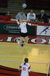 19 November 2010: Shannon McGlaughlin during an NCAA volleyball match between the Sycamores of Indiana State and the Illinois State Redbirds at Redbird Arena in Normal Illinois.