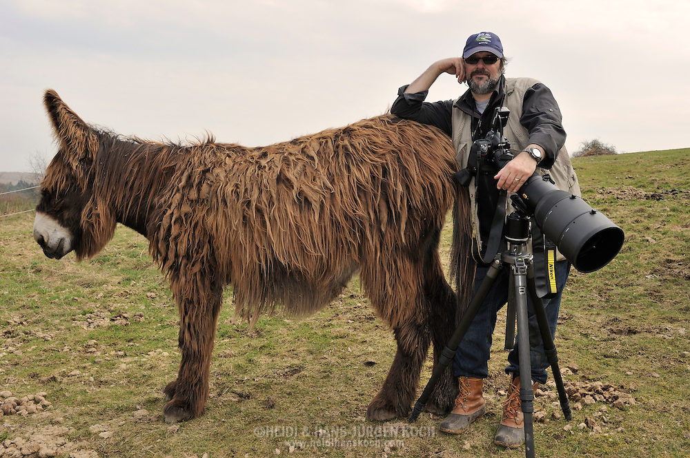 "Photographer Hans-Jürgen Koch and Poitou Donkey, on assignment for photoproject ""Creature's Coiffure"";.Fotografin Hans-Jürgen Koch mit Poitou-Riesenesel, on Assignment für Fotoprojekt ""Die Frisur der Kreatur"""