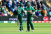 100 - Shakib Al Hasan (vc) of Bangladesh is congratulated by Mohammad Mahmudullah Riyad of Bangladesh after scoring a century during the ICC Cricket World Cup 2019 match between England and Bangladesh the Cardiff Wales Stadium at Sophia Gardens, Cardiff, Wales on 8 June 2019.
