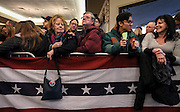Two plus hours early, supporters including Lin and Ray Lebrun of Nashua, facing center, wait front row for Republican presidential candidate Donald Trump to arrive at an event in Windham,  N.H. Monday, Jan. 11, 2016.  CREDIT: Cheryl Senter for The New York Times