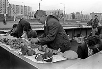 Selling mushrooms in local market.<br />