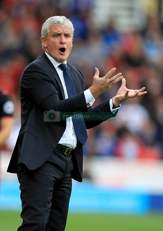 Stoke City manager Mark Hughes on the touchline during the Premier League match at the bet365 Stadium, Stoke.