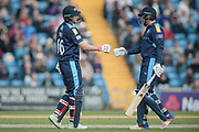 With a flurry of two sixes and a four, Jonny Bairstow (Yorkshire CCC) brings up 200 for Yorkshire County Cricket Club on the scoreboard. At the same time Jonny Bairstow (Yorkshire CCC) and Joe Root (Yorkshire CCC) bring up the 150 partnership during the Royal London 1 Day Cup match between Yorkshire County Cricket Club and Durham County Cricket Club at Headingley Stadium, Headingley, United Kingdom on 3 May 2017. Photo by Mark P Doherty.