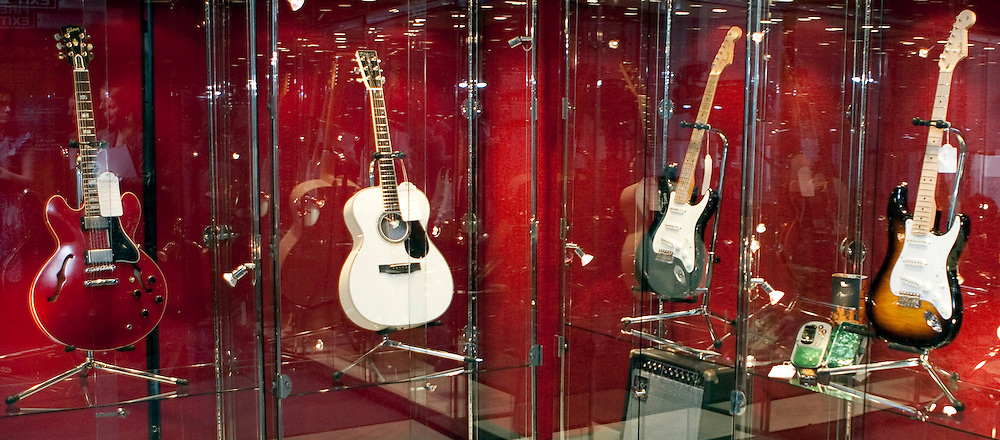 © under license to London News Pictures. 20/01/20011. Guitars belonging to Eric Clapton. Photocall ahead of Bonhams sale of Eric Clapton's guitars and amplifiers in aid of the Crossroads Centre. The sale will feature more than 70 guitars and 70 amplifiers which have helped create Clapton's legendary sound. This is the first time he has donated his historic amplifier collection to auction and gives fans a rare opportunity to purchase a piece of Clapton history, with estimates on amps and guitars spanning from 300 dollars to 30,000 dollars. . Photo credit should read Fuat Akyuz/LNP