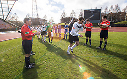 Gretna FC2008 clap the new Edinburgh City champions onto the park.<br /> Edinburgh City 0 v 0 Gretna FC2008, Scottish Sun Lowland League game played at Meadowbank Stadium, 28/3/2015.