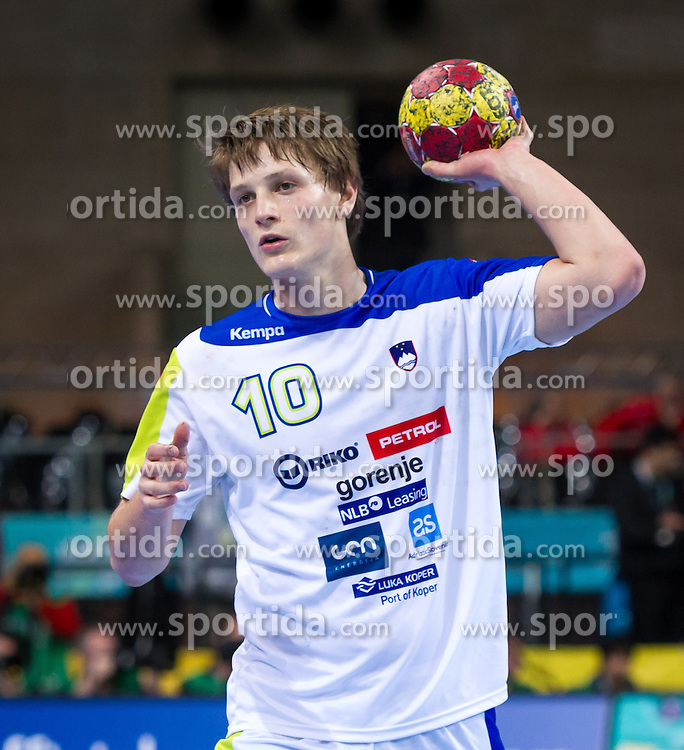 23.01.2013, Palau Sant Jordi, Barcelona, ESP, IHF, Handball Weltmeisterschaft der Herren, Viertelfinale, Russland vs Slovenien, im Bild Jure Dolenec (SLO)// Jure Dolenec of Slovenia during the Quaterfinal match of the IHF Handball World Championship between Russia and Slovenia at the Palau Sant Jordi, Barcelona, Spain on 2013/01/23. EXPA Pictures © 2013, PhotoCredit: EXPA/ Sebastian Pucher