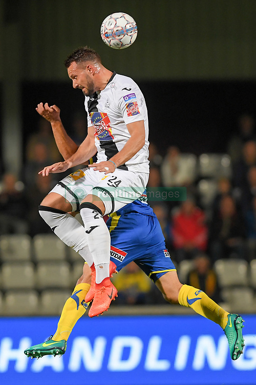 September 24, 2017 - Westerlo, BELGIUM - Roeselare's Mathieu Cornet fight for the ball during a soccer game between KVC Westerlo and KSV Roeselare, in Westerlo, Sunday 24 September 2017, on the seventh day of the division 1B Proximus League competition of the Belgian soccer championship. BELGA PHOTO LUC CLAESSEN (Credit Image: © Luc Claessen/Belga via ZUMA Press)