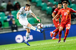 Miha Zajc of Slovenia vs Eljif Elmas of Macedonia during football match between National teams of Slovenia and North Macedonia in Group G of UEFA Euro 2020 qualifications, on March 24, 2019 in SRC Stozice, Ljubljana, Slovenia.  Photo by Matic Ritonja / Sportida