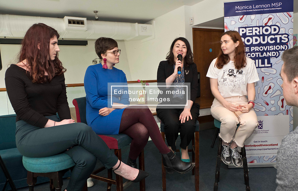 Pictured: Katie Williams, YWCA Scotland Director, Patrycja Kupiec, Monica Lennon and Diane Stewart<br /> <br /> Labour health spokeswoman Monica Lennon will formally lodge her period poverty Member's Bill to help make Scotland a world leader for period poverty. Ms Lennon was joined by members from CoSLA, Comminication Workers Union, representatives from YWCA,  girl guides, local and national politicians in Edinburgh before her Bill was laid before the Scottish Parliament<br /> <br /> <br /> Ger Harley | EEm 24 April 2019