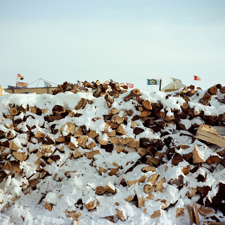 OCETI SAKOWIN CAMP, CANNON BALL, NORTH DAKOTA - DECEMBER 6, 2016: Fire wood for the secred fire at the Oceti Sakowin camp.