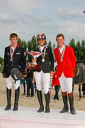 1. Notz Larissa (SUI) <br /> 2. Burucs Barna (HUN) <br /> 3. Verlooy Jos (BEL) <br /> European Championship Childern - Moorsele 2009<br /> © Hippo Foto - Dirk Caremans