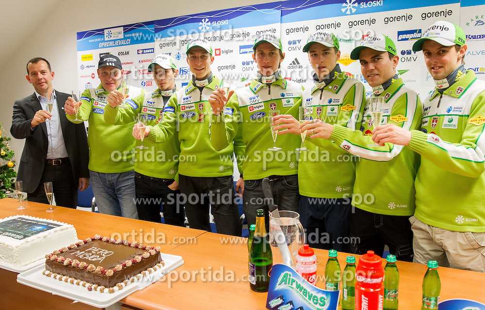 Enzo Smrekar, Goran Janus, Robert Kranjec, Jurij Tepes, Peter Prevc, Jaka Hvala, Jernej Damjan and Tomaz Naglic during press conference of Nordic Team of Ski Association of Slovenia (SZS) on January 13, 2014 in SZS,  Ljubljana, Slovenia. Photo by Vid Ponikvar / Sportida