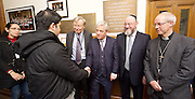 Kinderstransport plaque in Parliament, Westminster, London, Great Britain <br /> 27th January 2017 <br /> <br /> Chief Rabbi and Archbishop of Canterbury to mark Holocaust Memorial Day with Lord Dubs at rededication of Kindertransport plaque in Parliament<br />  <br /> 20 years ago the Committee of the Reunion of the Kindertransport donated a plaque to Parliament commemorating Britain&rsquo;s act of generosity to Jewish children in Nazi-occupied Europe. On Holocaust Memorial Day [27 January 2017], the plaque will be rededicated in the presence of newly arrived child refugees who were reunited with their families from Calais last year by Safe Passage, a project of Citizens UK. <br />  <br /> The ceremony will be particularly poignant as it will be attended by Lord Dubs, himself a Kindertransport survivor, who passed an amendment to the Immigration Act last year, with the Government's support, affording sanctuary in the UK to some of the most vulnerable lone child refugees in Europe.<br />  L to R <br /> <br /> Lord Alf Dubs.<br /> Speaker of the House of Commons, John Bercow, <br /> shaking hands with  a client of Safe Passage. He is Syrian and spent months in the Calais 'jungle' before being reunited with his family here in Britain<br /> Chief Rabbi, Ephraim Mirvis, <br /> Archbishop of Canterbury, Justin Welby, <br /> <br /> <br /> Rededication of Kinderstransport plaque in Parliament<br /> <br /> <br /> <br /> <br /> Photograph by Elliott Franks