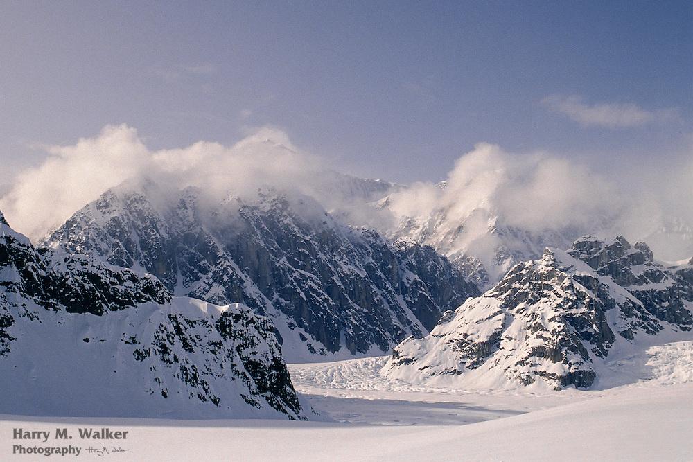 Sheldon Ampitheater overlooking Ruth Glacier; Denali National Park; orographic clouds; Alaska Range; orographic clouds
