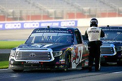 February 23, 2019 - Hampton, GA, U.S. - HAMPTON, GA - FEBRUARY 23:  The trucks are brought to pit road for a late race red flag during the 11th running of the Ultimate Tailgating 200 NASCAR Gander Outdoors Truck Series race on February 23, 2019 at the Atlanta Motor Speedway in Hampton, GA.  (Photo by David J. Griffin/Icon Sportswire) (Credit Image: © David J. Griffin/Icon SMI via ZUMA Press)