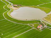 Nederland, Noord-Holland, Gemeente Schagen, 16-04-2012; Keinsmerwiel, Westfriese Zeedijk, ten noorden van Schagen. Het  wiel iss een restant van vroegere dijkdoorbraken..Westfriese Omringdijk, part of the 'Westfrisian Surrounding Dike'. The water is the remnant of dike breaches is the past..luchtfoto (toeslag), aerial photo (additional fee required);.copyright foto/photo Siebe Swart