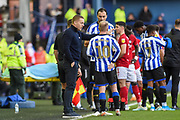 Sheffield Wednesday manager Garry Monk speaks with Sheffield Wednesday vice captain Barry Bannan during the EFL Sky Bet Championship match between Sheffield Wednesday and Bristol City at Hillsborough, Sheffield, England on 22 December 2019.
