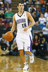 November 1, 2010; Sacramento, CA, USA;  Sacramento Kings point guard Beno Udrih (19) dribbles up court against the Toronto Raptors during the first quarter at ARCO Arena. The Kings defeated the Raptors 111-108.