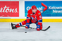 KELOWNA, BC - FEBRUARY 06: Jaret Anderson-Dolan #11 of the Spokane Chiefs stretches on the ice during warm up against the Kelowna Rockets at Prospera Place on February 6, 2019 in Kelowna, Canada. (Photo by Marissa Baecker/Getty Images)