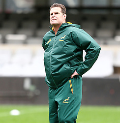 Durban. 170818. Rassie Erasmus South Africa during the South African national rugby team captains run at Jonsson Kings Park in Durban, South Africa. Pucture Leon Lestrade. African News Agency/ANA
