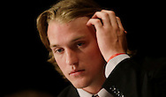 Mississippi quarterback Bo Wallace talks with reporters during the SEC football Media Days in Hoover, Ala., Tuesday, July 16, 2013. (AP Photo/Dave Martin)