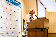 Chair of Para World Sailing, Betsy Alison, speaking at the Opening Ceremony for the 2018 Para Sailing World Championship, Sheboygan, Wisconsin, USA. Over 90 competitors from 39 nations in three classes — Hansa 303, 2.4m OD, and RS Venture — competing from 18 September to 22 September 2018. The host, Sail Sheboygan & SEAS, is located on the water of Lake Michigan, the fourth largest fresh water lake in the world.