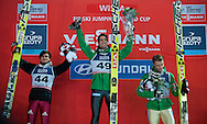 (L) Rune Velta of Norway & (C) Anders Bardal of Norway & (R) Richard Freitag of Germany celebrate while medal ceremony during FIS World Cup Ski Jumping in Wisla...Poland, Wisla, January 09, 2013...Picture also available in RAW (NEF) or TIFF format on special request...For editorial use only. Any commercial or promotional use requires permission...Photo by © Adam Nurkiewicz / Mediasport