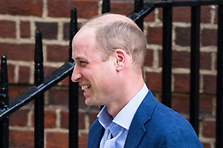 © Licensed to London News Pictures. 23/04/2018. London, UK. The Duke of Cambridge leaves the Lindo Wing of St Mary's Hospital in west London after his new born baby son, the Prince of Cambridge was born at 11:01 AM today. The baby weighed 8lbs 7oz and is fifth in line to the throne. Photo credit : Tom Nicholson/LNP