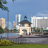 "According to ""Wikipedia"" - The Kuching Waterfront is an approximately 1 kilometer long riverside esplanade stretching from the main hotel and commercial heartland of the city to downtown Kuching. The landscaped waterfront is dotted with food stalls, restaurants and benches and offers excellent views of The Astana, Fort Margherita and the New Sarawak State Legislative Assembly Building. The waterfront also features an observation tower, an open-air theater and musical fountains. The Sunday Market at Satok operates during weekends offers a large diversity of items for trade. The Kuching Civic Center offers a panoramic view of the city from a viewing platform during the day."