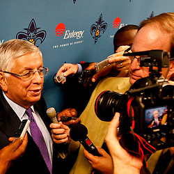 Dec 5, 2012; New Orleans, LA, USA; NBA Commissioner David Stern talks to the media before a game between the New Orleans Hornets and the Los Angeles Lakers at the New Orleans Arena.  Mandatory Credit: Derick E. Hingle-USA TODAY Sports