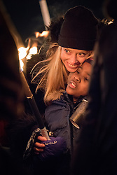 "10 December 2017, Oslo, Norway: In the evening of 10 December some 4,000 people from around the world gathered in central Oslo for a torch light march for peace. The event took place after the Nobel Peace Prize award 2017, awarded to the International Campaign to Abolish Nuclear Weapons (ICAN), for ""its work to draw attention to the catastrophic humanitarian consequences of any use of nuclear weapons and for its ground-breaking efforts to achieve a treaty-based prohibition of such weapons"". Among the crowd were more than 20 ""Hibakusha"", survivors of the atomic bombings in Hiroshima and Nagasaki, as well as a range of activists, faith-based organizations and others who work or support work for peace, in one or another way. Here, Merete (mother) and Alma, child, who have joined the march to support the peace work that ICAN and its partners do."