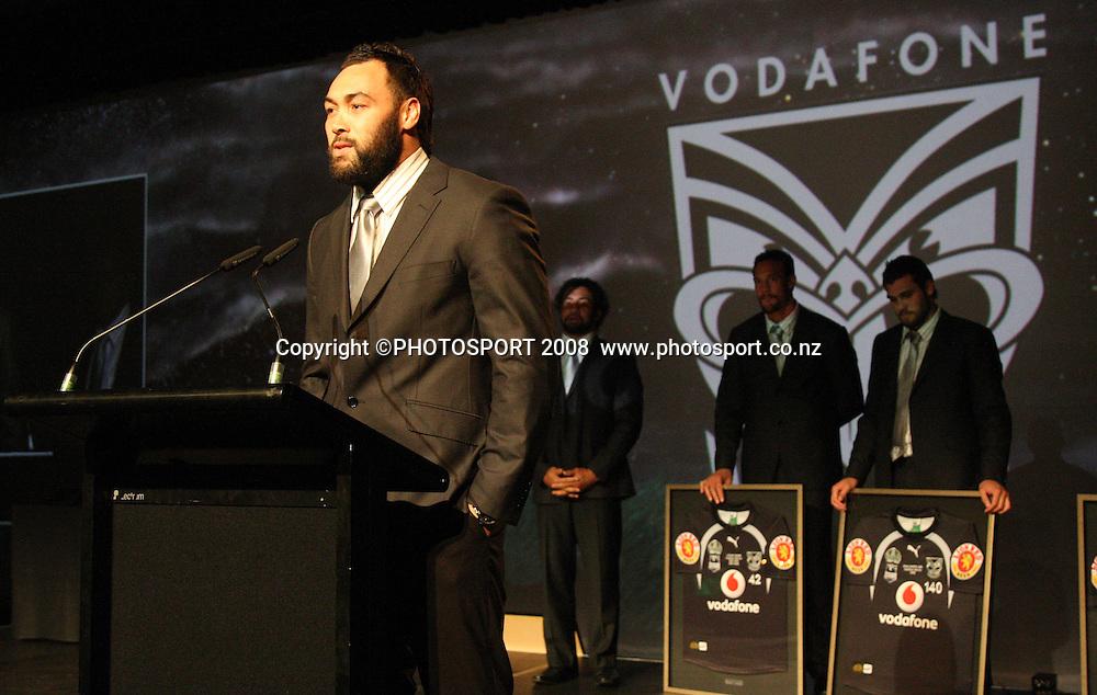 Wairangi Koopu. Vodafone Warrior's annual awards, Sky City Convention Centre, Auckland. 16 September 2008. Photo: Andrew Cornaga/PHOTOSPORT