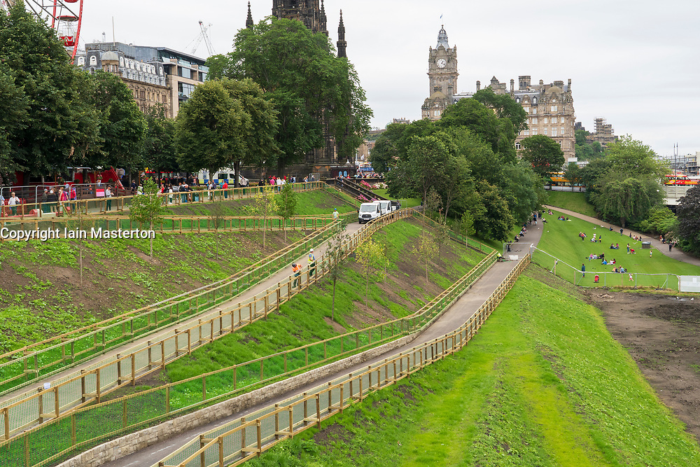 New landscaping work in Princes Street Gardens nears completion in Edinburgh, Scotland, UK