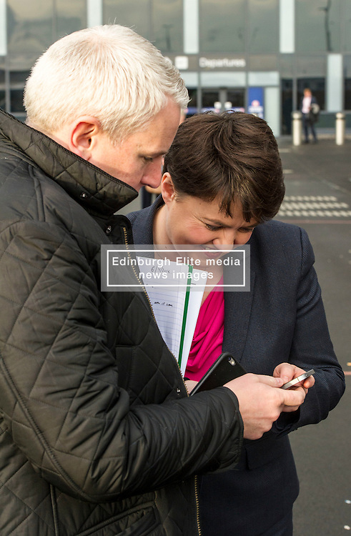 Pictured: Ruth Davidson checks this morning's press release before going on camera<br />