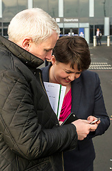 Pictured: Ruth Davidson checks this morning's press release before going on camera<br /> <br /> Scottish Conservatives leader Ruth Davidson and shadow finance secretary Murdo Fraser, MSP, headed to Edinburgh Airport to meet Ahmet Serhat Sari, Turkish Airlines General manager for Scotland, 4 years after the airline opened up the route from the capital to Ankera. Ms Davison was keen to discuss the expansion of the Scottish economy.<br /> <br /> Ger Harley | EEm 9 December 2016