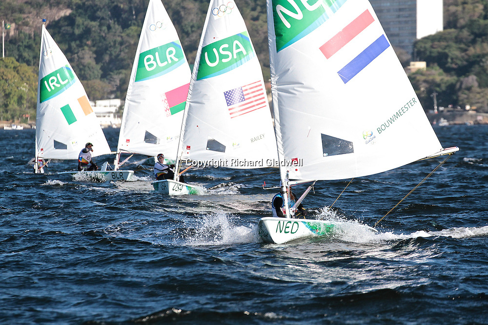 Marit Boumeester (NED) overall series leader in the Laser Radial.<br /> Rio 2016 Olympics, Rio de Janero, Brazil. Olympic Sailing Day 6, 13 August 2016.<br /> Photo credit: Richard Gladwell / www.photosport.nz