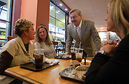 Iowa Republican gubernatorial candidate Terry Branstad talks with people at Palmer's Deli & Market at Kaleidoscope at the Hub Mall in Des Moines, Iowa on Tuesday November 2, 2010. (Stephen Mally for The New York Times)