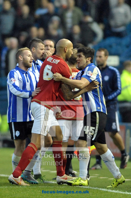 tempers flair between Sheffield Wednesday and Nottingham Forest during the Sky Bet Championship match at Hillsborough, Sheffield<br /> Picture by Graham Crowther/Focus Images Ltd +44 7763 140036<br /> 31/10/2015