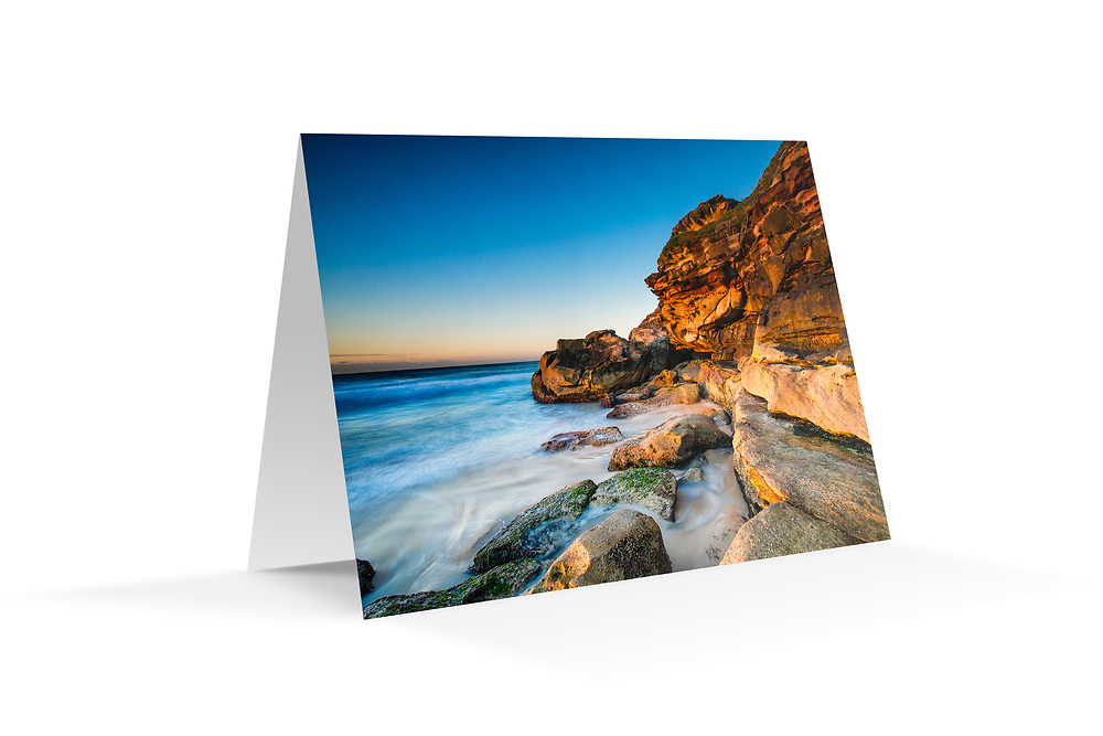 """Photo Art Greeting Card - Sydney Coastal Collection (Tamarama). Printed in Sydney on quality matte card stock, 174 x 123mm, blank inside, envelope included, packaged in sealed poly bag. Click """"Add to Cart"""" to choose your own mix of 5, 10, or 20 cards from this collection."""