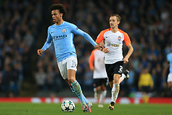 26th September 2017 - UEFA Champions League - Group F - Manchester City v Shakhtar Donetsk - Leroy Sane of Man City gets away from Bohdan Butko of Shakhtar - Photo: Simon Stacpoole / Offside.